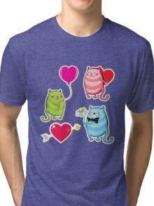 Cartoon cat valentine illustrator Tri-blend T-Shirt