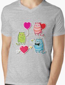 Cartoon cat valentine illustrator Mens V-Neck T-Shirt