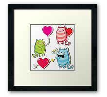 Cartoon cat valentine illustrator Framed Print