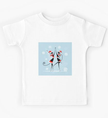 Amusing Christmas cats graphics Kids Tee