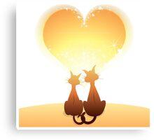 Cat love valentine Canvas Print