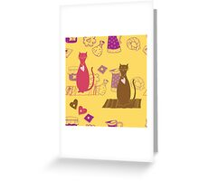 Cat love background pattern cute Greeting Card