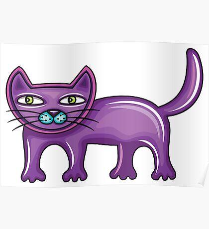 Cartoon purple cat Poster