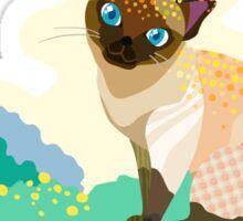 Cartoon cat background Sticker