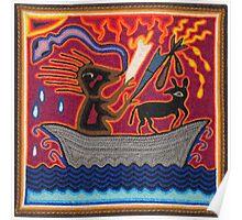 Mexican Folk Art - Boat, dog, snake Poster