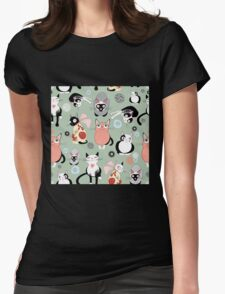 Naughty cat pattern Womens Fitted T-Shirt