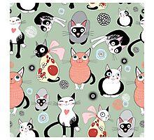 Naughty cat pattern Photographic Print
