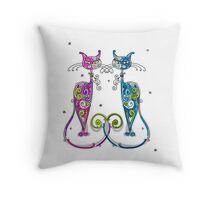 Amusing Christmas cats graphics Throw Pillow