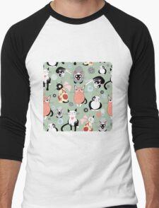 Funny cartoon cat design pattern Men's Baseball ¾ T-Shirt