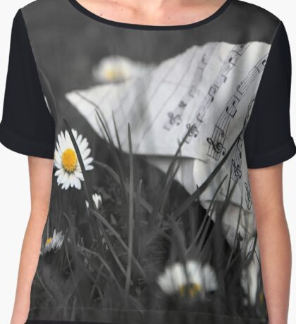 Sheet Music and Flowers Chiffon Top