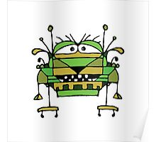 Funny Robot Cartoon Poster