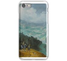 Tobias Verhaecht MOUNTAINOUS RIVER LANDSCAPE WITH TRAVELERS iPhone Case/Skin