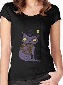 Sad Cat with Moonlight Memories Women's Fitted Scoop T-Shirt