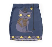 Sad Cat with Moonlight Memories Mini Skirt