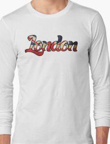 LONDON ENGLAND UNITED KINGDOM FLAG GREAT BRITAIN PANORAMIC TYPOGRAPHY Long Sleeve T-Shirt