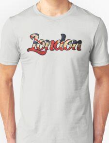 LONDON ENGLAND UNITED KINGDOM FLAG GREAT BRITAIN PANORAMIC TYPOGRAPHY Unisex T-Shirt