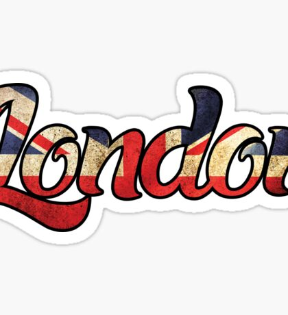 LONDON ENGLAND UNITED KINGDOM FLAG GREAT BRITAIN PANORAMIC TYPOGRAPHY Sticker