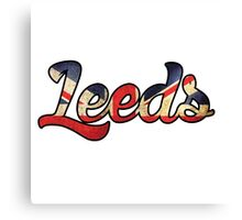LEEDS ENGLAND UNTIED KINGDOM FLAG GREAT BRITAIN PANORAMIC TYPOGRAPHY Canvas Print