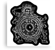 TamDin Buddhist Protective Charm white on black Canvas Print