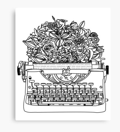 Typewriter Bouquet  Canvas Print