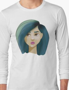 Blue haired girl Long Sleeve T-Shirt