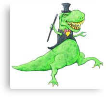 T-Rex in Top Hat and Tails Canvas Print