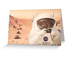 Astronaut Cat on Mars Greeting Card