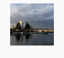 Lighthouse Sunburst - A perfectly Aimed Sunray on a Gray Morning Unisex T-Shirt