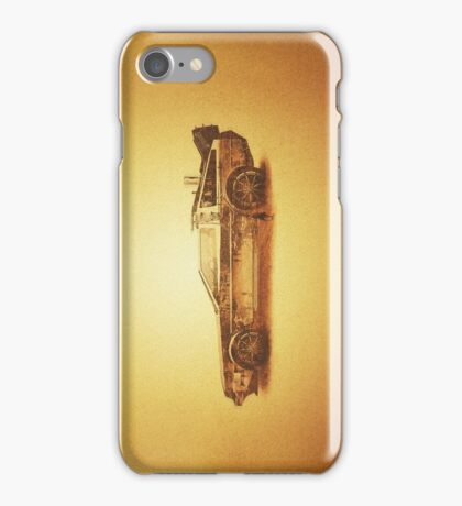 Lost in the Wild Wild West! (Golden Delorean Doubleexposure Art) iPhone Case/Skin