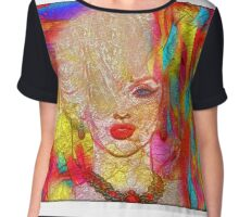Abstract Blonde Bombshell, Marilyn Art Chiffon Top