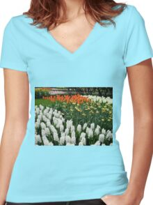 Fire and Ice - Dutch Bulbs in the Keukenhof Gardens Women's Fitted V-Neck T-Shirt
