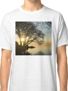 Golden Tranquility - Lacy Tree Silhouettes on the Lake Shore Classic T-Shirt
