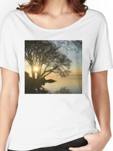 Golden Tranquility - Lacy Tree Silhouettes on the Lake Shore Women's Relaxed Fit T-Shirt