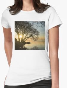Golden Tranquility - Lacy Tree Silhouettes on the Lake Shore Womens Fitted T-Shirt