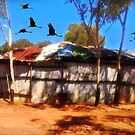 Brolga over theTwo-up shed at Kalgoorlie by myraj