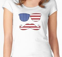 Patriotic Funny Face Women's Fitted Scoop T-Shirt