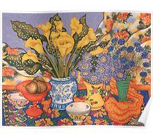 Calla Lilies, Scabiosa And Cornflowers Poster