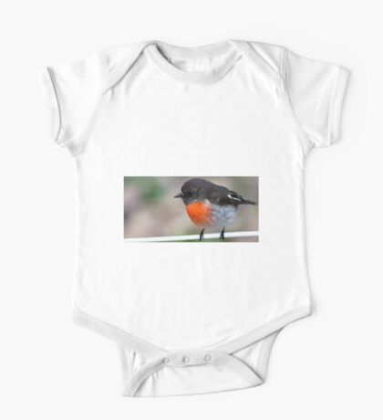 """""""Red Breasted Robin"""" Posing on Fence Wire One Piece - Short Sleeve"""