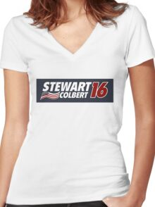 Stewart & Colbert 2016 Election Women's Fitted V-Neck T-Shirt