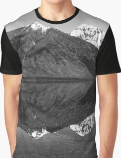 Mirror Reflection in Lake McDonald ~ Black & White Graphic T-Shirt