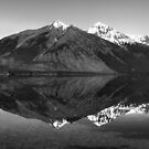 Mirror Reflection in Lake McDonald ~ Black & White by Lucinda Walter