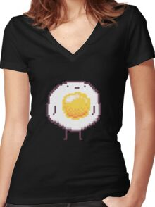 Standing Egg Pixel  Women's Fitted V-Neck T-Shirt