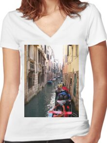 After the Rain ~ Gondoliers of Venice Women's Fitted V-Neck T-Shirt