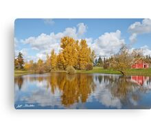 Red Barn and Fall Colors Reflected in a Pond Canvas Print