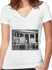 Village Life ~ Black & White Women's Fitted V-Neck T-Shirt