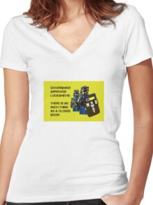 Government approved locksmiths! Women's Fitted V-Neck T-Shirt