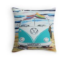'SURFIN LIFE' VW Kombi Camper Van   Throw Pillow