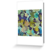 Seamless blue and green camouflage pattern with palm leaves. Greeting Card