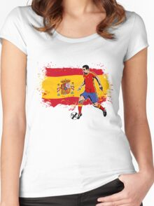 Soccer - Fußball - Spain Flag Women's Fitted Scoop T-Shirt