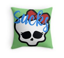 Love Sucks Pop Art Girl Skull w/ Ribbon (Sucks) Throw Pillow
